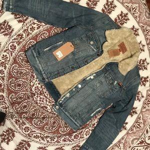 Lucky Brand Sherpa Denim Trucker Jacket